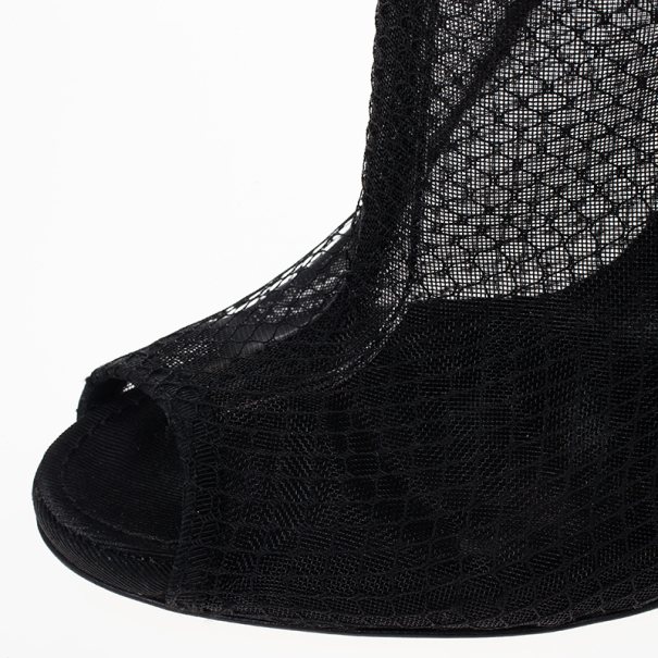 Dolce and Gabbana Black Lace Peep Toe Ankle Booties Size 37