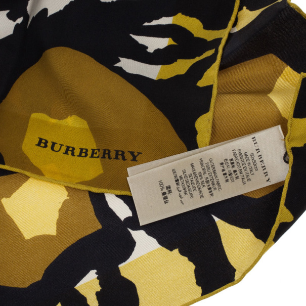 Burberry Abstract Floral Mulberry Silk Square Scarf