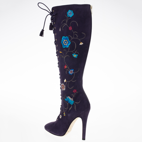 Jimmy Choo Purple Suede Floral Embroidered Colorado Knee Length Boots Size 38.5