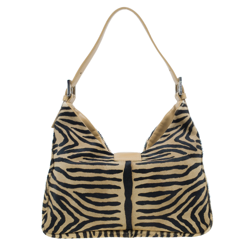 Fendi Zebra Pony Hair Hobo Shoulder Bag