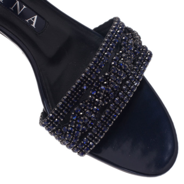 Gina Blue Crystal Kitten Heel Slides Size 38