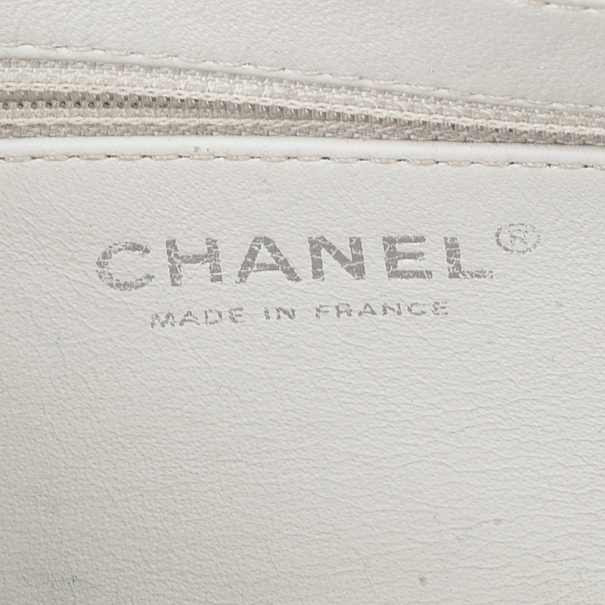 Chanel White Leather Small Flap Bag