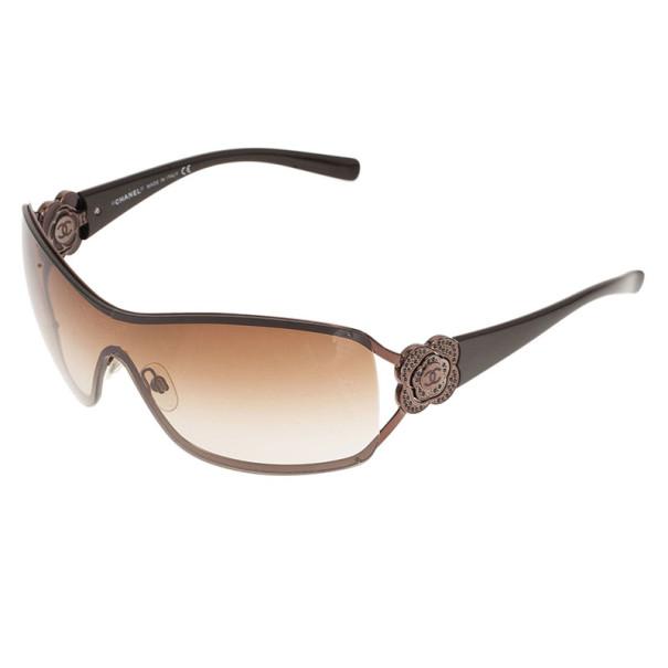 Chanel Brown Camelia Shield Sunglasses