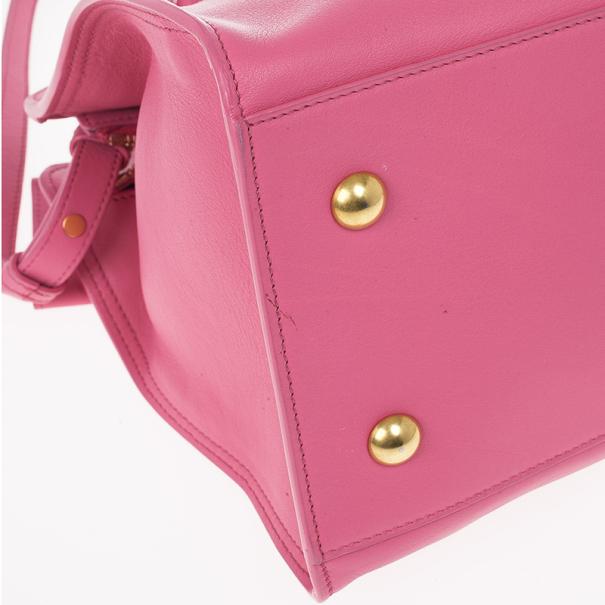 Saint Laurent Paris Pink Fushia Ligne Y Mini Cabas Bag