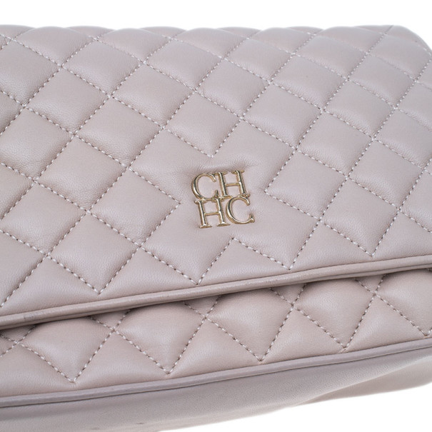 Carolina Herrera Beige Quilted Leather Crossbody Bag Buy