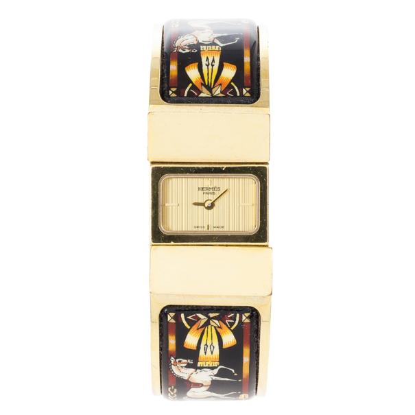 Hermes Gold Stainless Steel Black Loquet Bangle Women's Wristwatch 20MM