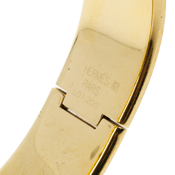 Hermes Gold Stainless Steel Red Loquet Bangle Women's Wristwatch 20MM