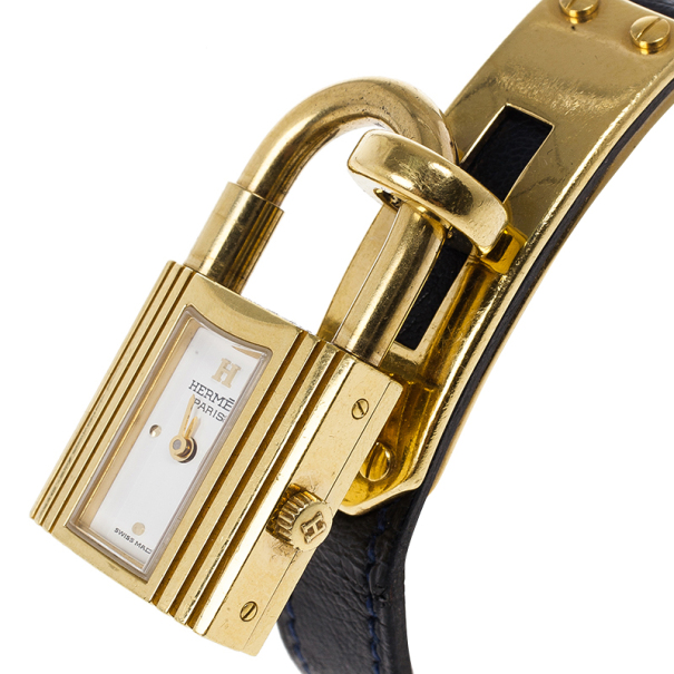 Hermes White Stainless Steel Black Kelly Women's Wristwatch 20MM