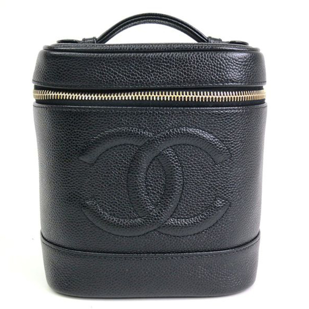 Chanel Black Caviar Cosmetic Vanity Bag