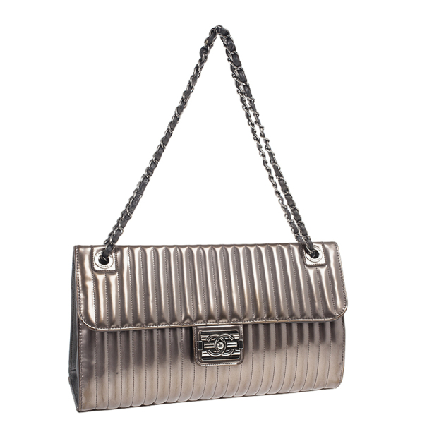 Chanel Classic Metallic Vertical Quilted Press Lock Flap Bag