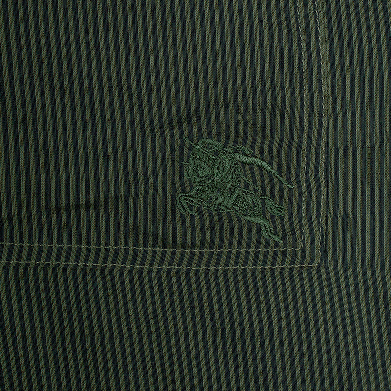 Burberry Brit Military Green Striped Button Down Shirt XL