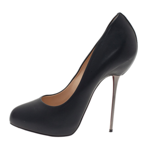 Christian Louboutin Black Leather Big Lips Pumps Size 37.5