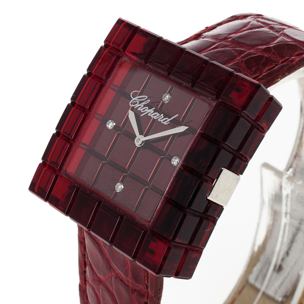 Chopard Red Resin & Steel Be Mad Women's Wristwatch 31MM