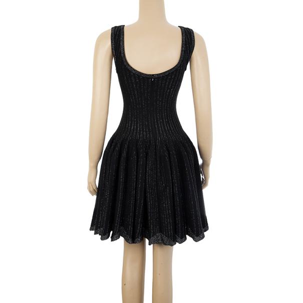 Azzedine Alaia Black Striped Stretch-Knit Dress S