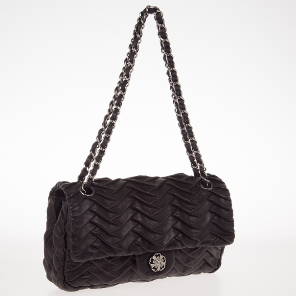 Chanel Black Pleated Leather Shoulder Bag