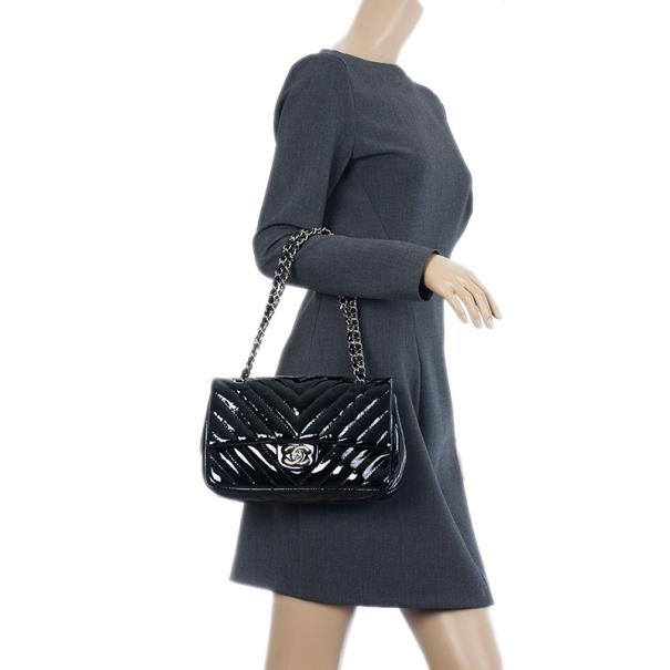 Chanel Black Surpique Chevron Medium Flap Bag