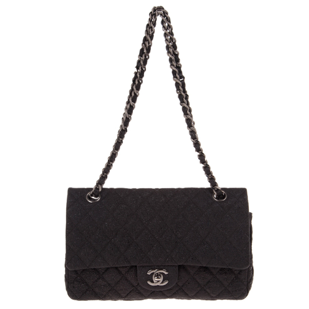 Chanel Black Fabric Iridescent Sparkle and Glitter Flap Bag