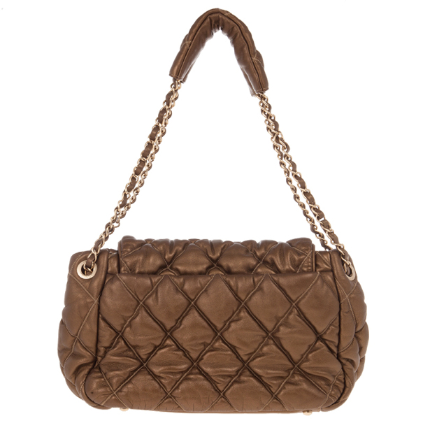 Chanel Green Leather Small New Bubble Flap Bag