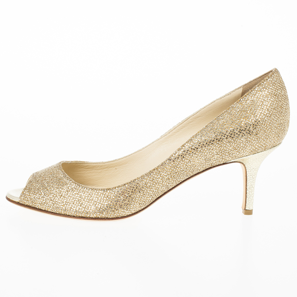 Jimmy Choo Gold Glitter Leather 'Isabel' Peep Toe Pumps Size 38