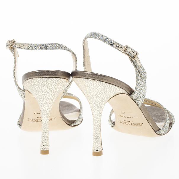 Jimmy Choo Silver India Glitter Slingback Sandals Size 38