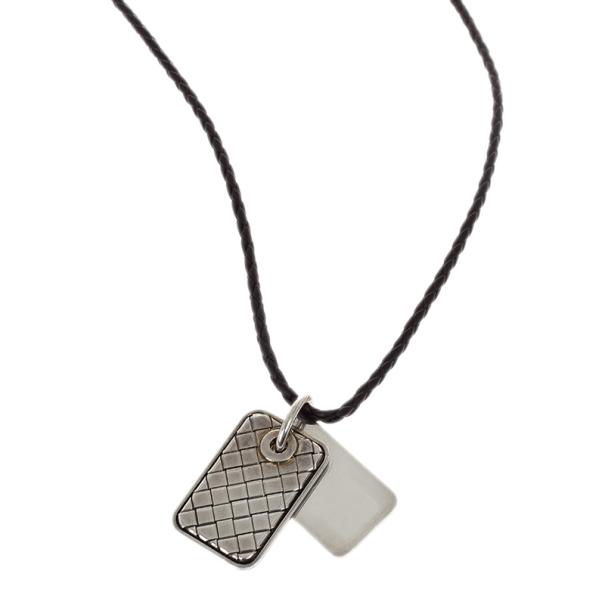 Bottega Veneta Unisex Brown Leather Woven Silver Pendant Necklace