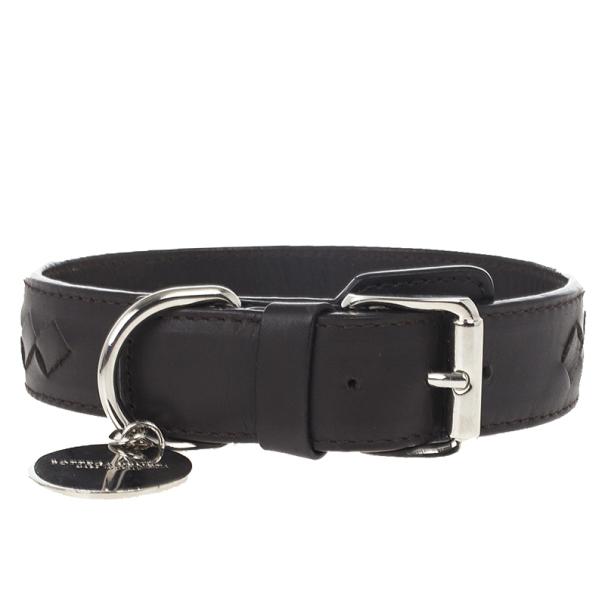 Bottega Veneta Brown Intrecciato Dog Collar