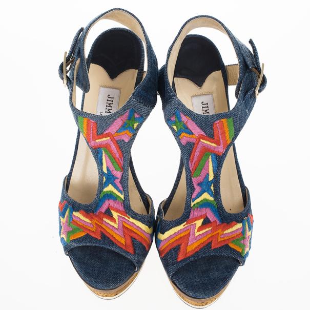 Jimmy Choo Multicolor Denim Platform Nixon Sandals Size 37