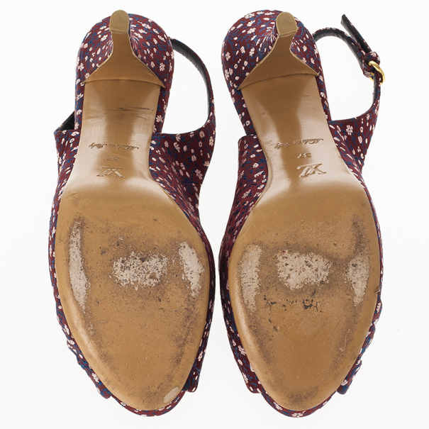 Louis Vuitton Burgundy Floral Silk Catania Slingback Sandals Size 37