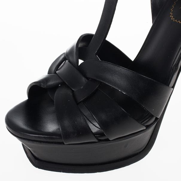 Saint Laurent Paris Black Leather Platform Tribute Sandals Size 36.5