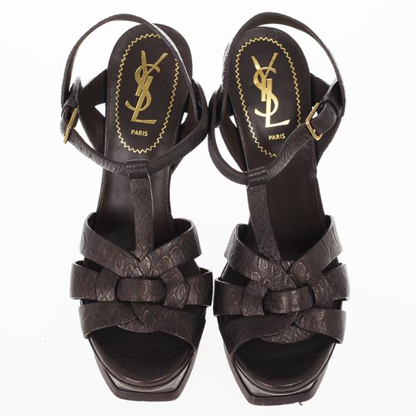 Saint Laurent Paris Brown Embossed Leather Platform Tribute Sandals 36.5