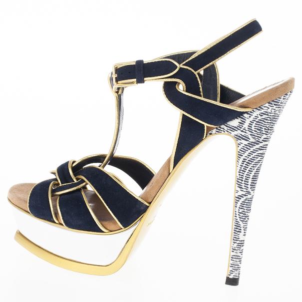 Saint Laurent Paris Suede and Metallic Platform Tribute Sandals Size 37