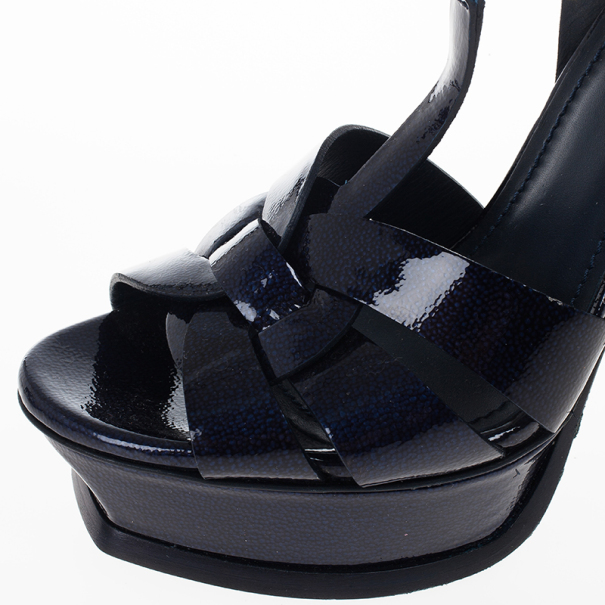 Saint Laurent Paris Navy Patent Platform Tribute Sandals Size 37