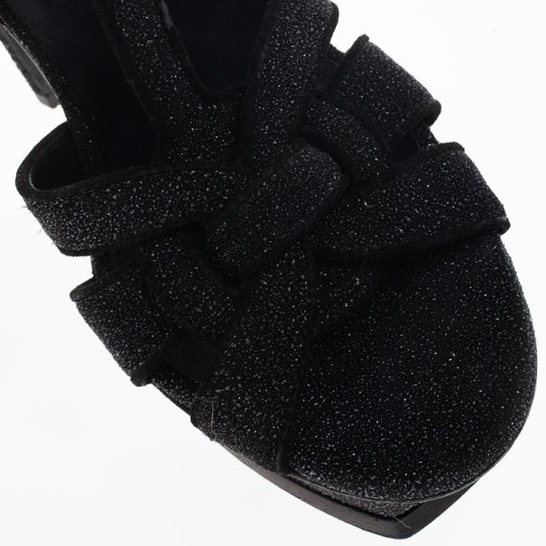 Saint Laurent Paris Black Glitter Platform Tribute Sandals Size 37