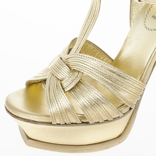 Saint Laurent Paris Gold Leather Platform Tribute Sandals Size 36