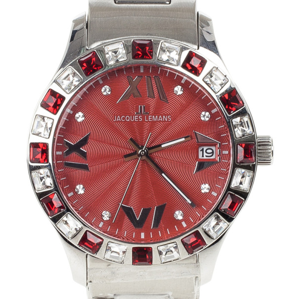 Jacques Lemans Red Stainless Steel 1-1517 Women's Wristwatch 37MM