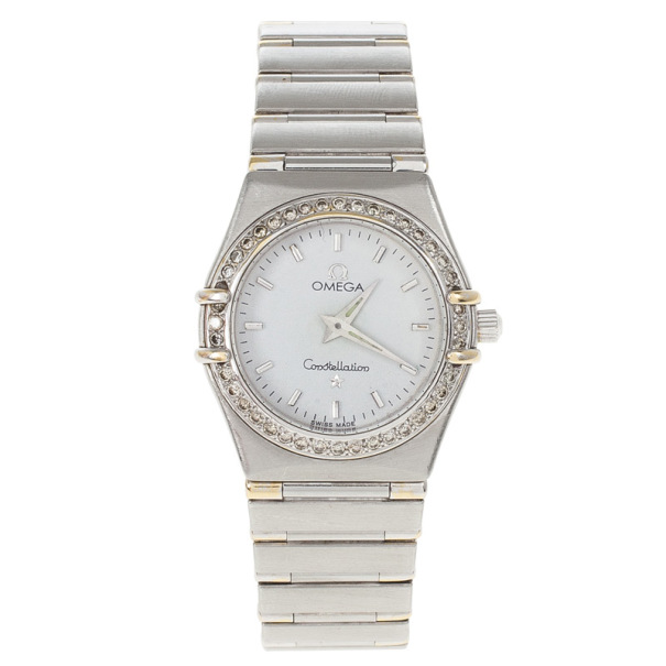 Omega White Stainless Steel Constellation Women's Wristwatch 25MM