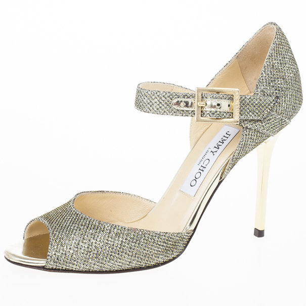 Jimmy Choo Lace Glitter Mary Jane Pumps Size 36