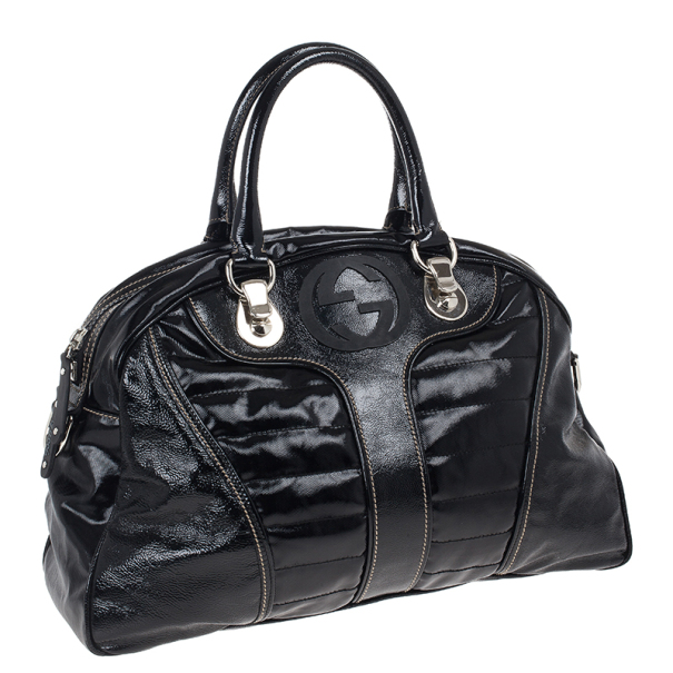 Gucci Black Snow Glam Medium Boston Bag