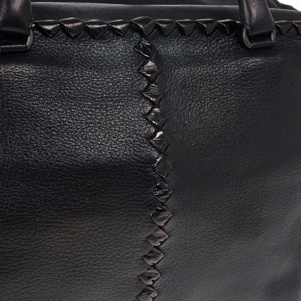 Bottega Veneta Black Large Brick Cervo Top Handle Bag