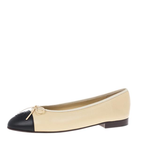 Chanel Beige Leather CC Cap Toe Ballet Flats Size 40.5