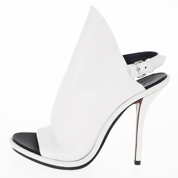 Balenciaga White Leather Glove Open Toe Sandals Size 36
