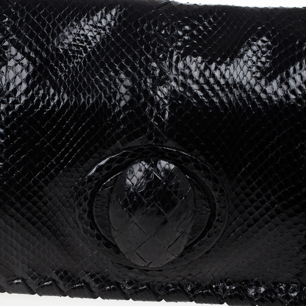 Bottega Veneta Black Ayres Twist Lock Watersnake Clutch
