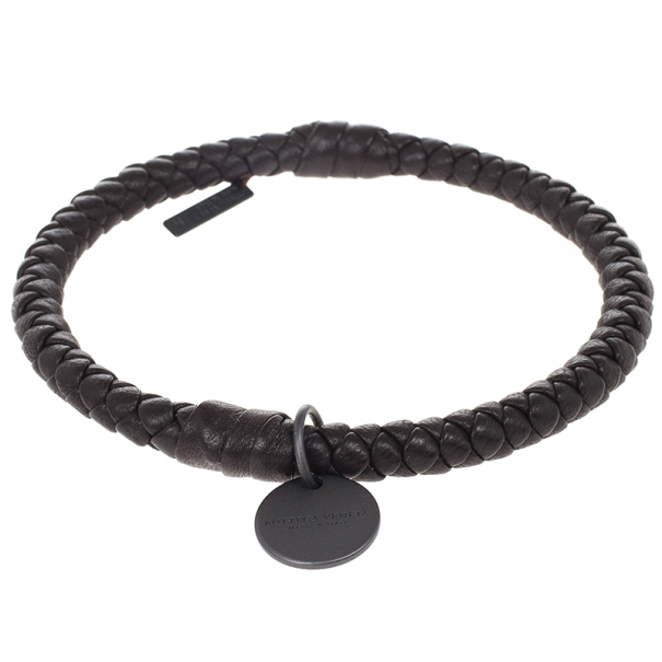 Bottega Veneta Dark Brown Intrecciato Nappa Bracelet Size M