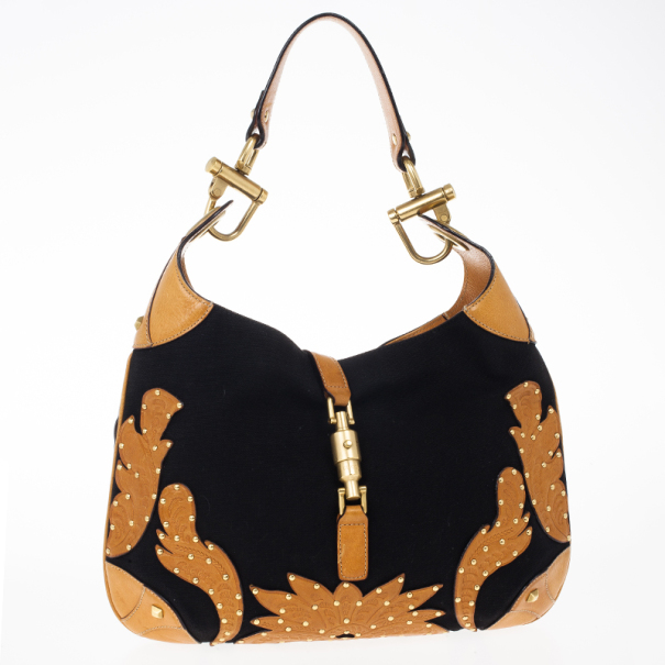 Gucci Canvas And Brown Leather 'New Jackie' Hobo