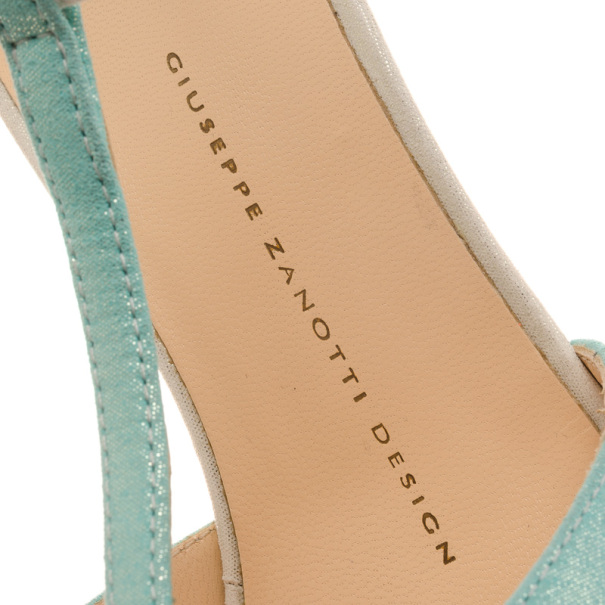 Giuseppe Zanotti Green Blue Shimmer T Strap D'orsay Pumps Size 38.5