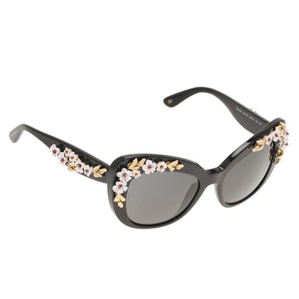 Dolce and Gabbana Black 4230 Almond Flower Cat Eye Sunglasses