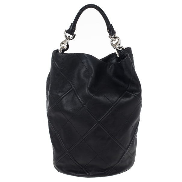 Salvatore Ferragamo Black Nappa Bucket Hobo