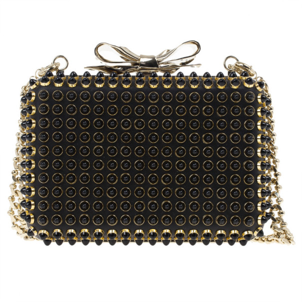 Christian Louboutin Black Spiked Bow Minaudière Shoulder Bag