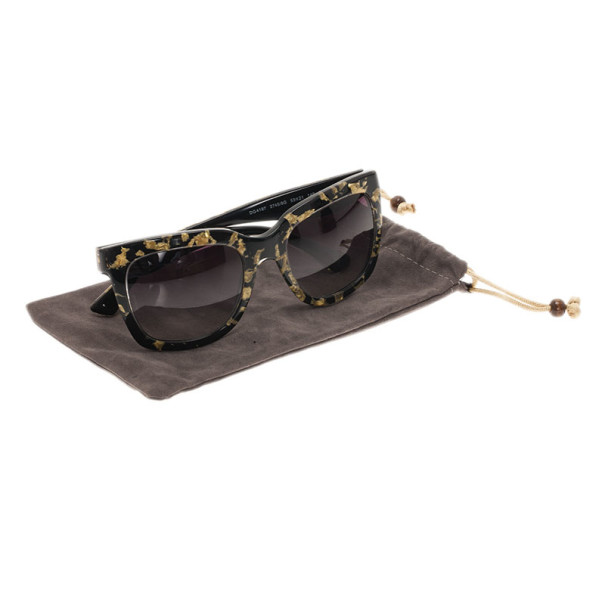Dolce and Gabbana Black Gold Leaf 4197 Sunglasses