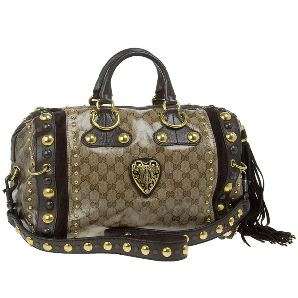Gucci Babouska Crystal GG Crest Boston Bag